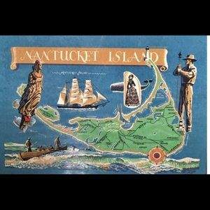 Very rare Vintage Hand Colored Map of Nantucket